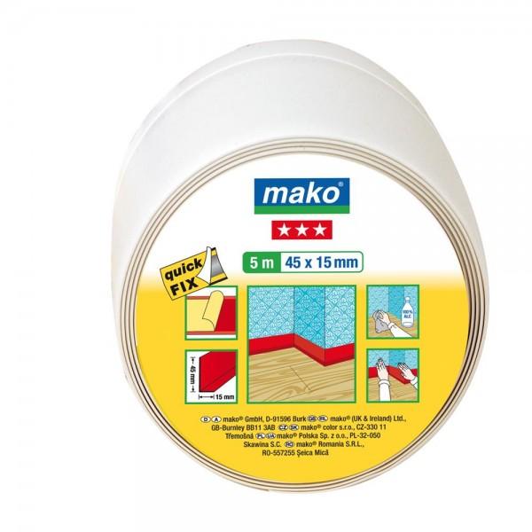 mako Weich-Sockelleiste selbstklebend 5m, 45 x15mm, weiß